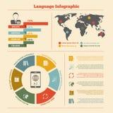 Vertaling en woordenboekinfographics Stock Foto's