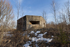 Verteidigungsbau des zweiten Weltkriegs auf der Bank von Dnepr-Fluss lizenzfreie stockfotografie