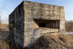 Verteidigungsbau des zweiten Weltkriegs auf der Bank von Dnepr-Fluss stockbild