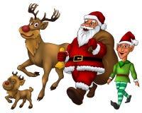 Verteilendes Geschenk Sankt mit Elf und Rudolph Stockfotos