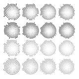 Verteilte Punkte des Halbtons Kreis- Halbtoneffektvektor Lizenzfreie Stockfotografie