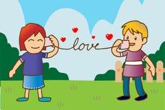 Vertel liefde door koptelefoon Royalty-vrije Stock Fotografie