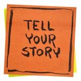 Vertel uw verhaal inspirational nota Royalty-vrije Stock Fotografie