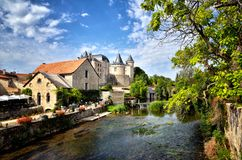 Verteuil sur Charente, France. Verteuil-sur-Charente is a village situated on the banks of the river Charente, in the quiet French countryside with a beautiful royalty free stock photo
