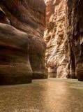 Verticaal beeld van Riviercanion van Wadi Mujib met licht op eind Stock Afbeelding