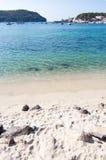 Verticaal beeld zandig strand Soller Stock Foto