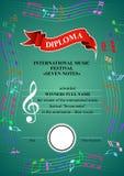 Verticaal muzikaal diploma vector illustratie