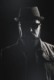 Verticaal portret van een hipster met een hoed van de varkensvleespastei en dikke B royalty-vrije stock foto's
