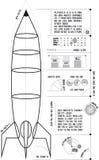 (Verticaal) Rocket Blueprint Stock Fotografie