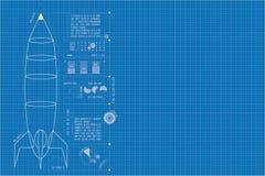 (Verticaal) Rocket Blueprint Royalty-vrije Stock Afbeeldingen