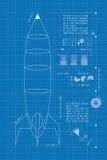 (Verticaal) Rocket Blueprint Stock Afbeeldingen