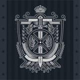 Verticaal zwaard en rond kader in het centrum van bladkroon en dwarspijlen Vector heraldisch element voor ontwerp of t-shirtdruk royalty-vrije illustratie