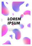 Vertical abstract background with liquid bright plasma drops. Cover template with colorful fluid shapes. Vector poster. With place for text stock illustration