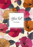 Vertical abstract floral card. Vertical floral abstract greeting card in vector for birthday, Valentine`s Day, wedding. Stylish floral poster in bright summer Stock Photos