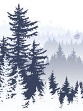 Vertical abstract illustration of foggy forest hills. Vertical abstract illustration of foggy coniferous trees and hills Stock Photo