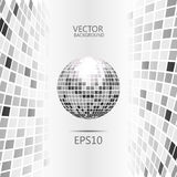 Vertical abstract poly perspective. Grayscale background with sphere like disco ball Royalty Free Stock Photography