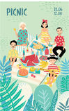 Vertical advertising poster on a picnic theme. Illustration with young trendy people, friends, relax outdoors. Bright Stock Photo