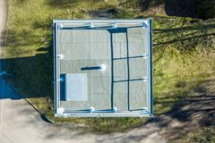 Vertical aerial photograph of a former watchtower at the inner-German border between the Federal Republic of Germany and the. German Democratic Republic., drone royalty free stock photo