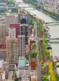 Vertical aerial view of Paris city and Seine river. From Eiffel Tower. France Stock Images