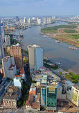 Vertical aerial view of Saigon River and City in The Afternoon. Royalty Free Stock Photos