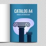 Vertical, arquitectura antigua del ejemplo del vector del diseño del lineart stock de ilustración