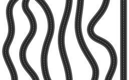 Vertical Asphalt Road. Set of 7 black asphalt roads on white background Stock Images