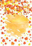 Vertical autumn banner template with blank space for your text. Seasonal fall poster with colorful leaves on abstract Royalty Free Stock Photo