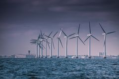Wind turbines farm in Baltic Sea, Denmark royalty free stock photography