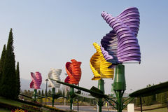 Vertical axis wind turbines in park Stock Photos