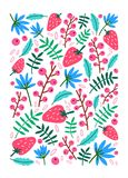 Vertical backdrop, card or poster template decorated with strawberries, summer berries, sprigs, leaves and flowers on. White background. Bright colored cartoon Stock Photo