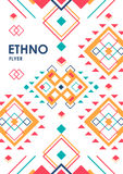 Vertical background with geometric ethnic ornament. ethno abstract poster template with place for text.  stock illustration