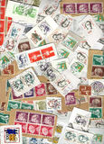 Vertical background of German postage stamps Stock Images
