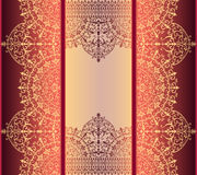 Vertical background with gold filigree frame border oriental gold with lace ornaments Royalty Free Stock Image