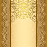 Vertical background with gold filigree frame border oriental gold with lace ornaments Stock Photography