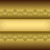 Vertical background with gold filigree frame border oriental gold with lace ornaments Stock Photos