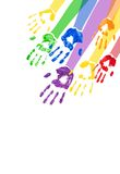 Vertical background with multicolored paint hands. Vector vertical abstract background with bright multicolored paint handprints royalty free illustration