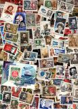 Vertical background of soviet postage stamps. USSR - circa 1950-1990: Vertical background of soviet postage stamps including stamps with portraits Stock Image