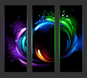 Vertical banner with abstract background. Set of vertical banners with bright dynamic background Royalty Free Stock Photos