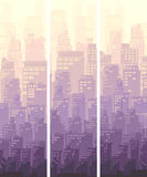 Vertical banner of big city and sun. Royalty Free Stock Photo