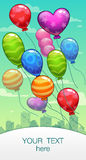 Vertical  banner with cartoon balloons Royalty Free Stock Photos