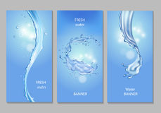 Vertical banner with flows and drops of crystal clear blue water. Vector freshness concept set Royalty Free Stock Photo