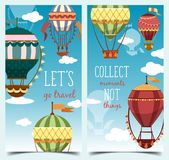 Hot air montgolfier balloons in sky with clouds. Vertical banner or flyer with hot air balloons for sport event or tourism entertainment event. Airship for Stock Images