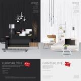 2 Vertical Banner Furniture Sale Design Template. Vector Illustration stock illustration
