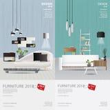 2 Vertical Banner Furniture Sale Design Template. Vector Illustration vector illustration