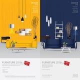 2 Vertical Banner Furniture Sale Design Template. Vector Illustration royalty free illustration