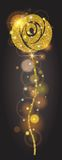 Vertical banner golden bright rose with sparkles. Large solar flare, glow, holiday, ornaments for design. Vector. Illustration Royalty Free Stock Image