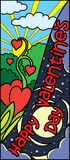 Vertical banner for happy valentine`s day. Hearts-flowers holiday vector design site, valentines day banner with stars moon son. This vertical banner - holiday Stock Photos