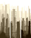Vertical banner industrial part of city. Stock Image