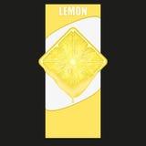 Vertical Banner of lemon square slice. Space for Stock Photo