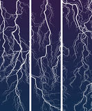 Vertical banner of lightning at night. Royalty Free Stock Image
